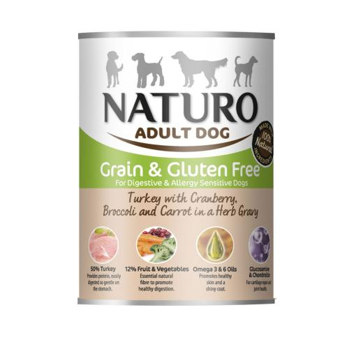 Naturo Grain & Gluten Free Wet Dog Food Tin - Turkey and Cranberry 390g