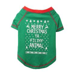 "Rosewood ""Merry Christmas Ya Filthy Animal"" Novelty Dog T-Shirt"
