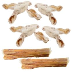 Anco Naturals Dog Treat Hairy Rabbit Ear & Hide Rolls Value Pack