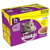 Whiskas Senior Pouch Multipack 12x100g Poultry Selection In Jelly