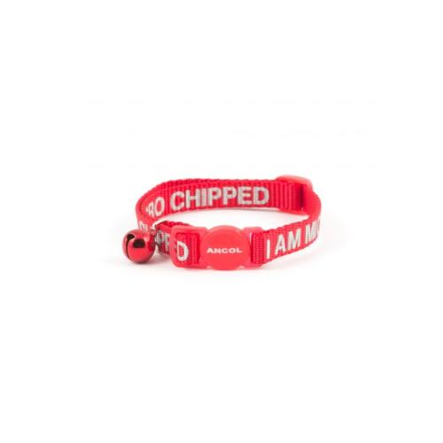 Ancol Reflective Safety Cat Collar With Bell - Red With 'I Am Micro Chipped' Printed