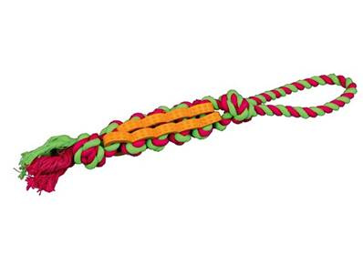 Denta Fun Twisted Stick On A Rope, Natural Rubber, 4cm/48cm