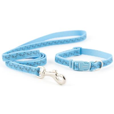 Ancol Blue Paw 'n' Bone Puppy Collar & Lead Set